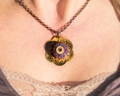 Mixed Metal Boro Lampwork Glass Bead Pendant Necklace Purple- Earth is Crammed with Heaven