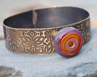 Brass Bangle Bracelet Lampwork Glass Beaded Cuff Purple Orange
