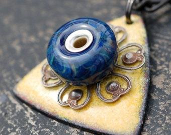 Glass Beaded, Enameled Pendant, Necklace, Boro Lampwork Bead, Enameled Jewelry, Blue Yellow - Latest Warning