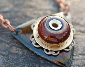 Boro Lampwork Glass Bead Enameled Pendant Enamel Necklace Jewelry, Brown, Green, Basic Instinct
