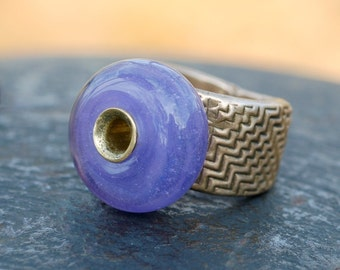 Ring - Bronze Band, Handmade Glass Bead, Boro Lampwork Jewelry, Beaded, Wisteria