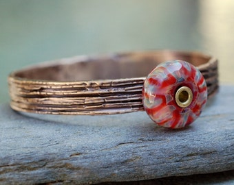 Bangle Bracelet, Bronze, Boro Lampwork, Borosilicate Glass Beaded Jewelry Red, Purple - Keeping Up