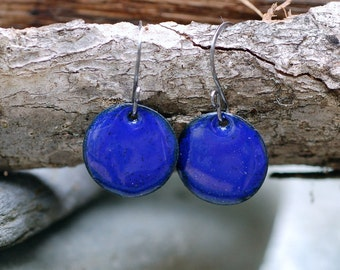Blue Enamel Earrings, Small Copper Disc, Enameled Jewelry, Royal