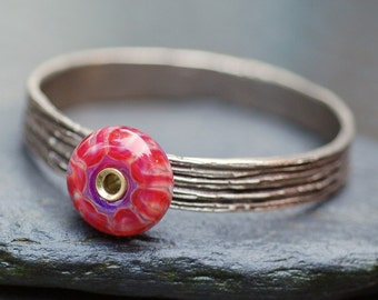 Bangle Bracelet, Bronze, Boro Lampwork, Borosilicate Glass Beaded Jewelry Red, Purple - Painted Lady