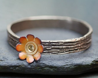 Bangle Bracelet, Bronze, Enamel Flower, Copper Enameled Jewelry, Yellow Orange - Daisy