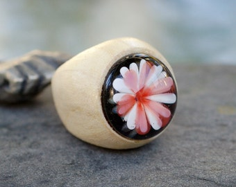 Wood Ring Glass Cab Boro Borosilicate Lampwork Wooden Jewelry Mums the Word Size 5