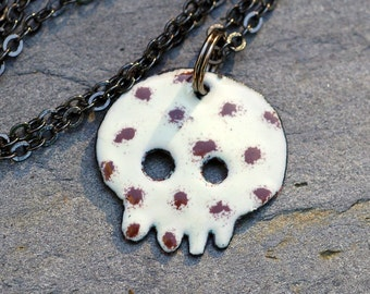 Enamel Skull Pendant, Dia de los Muertos Necklace, Copper, White Brown Spots, Enameled Jewelry - Baby Kit