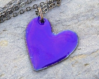 Enamel Heart Pendant Necklace Copper Enameled Jewelry Cobalt Blue