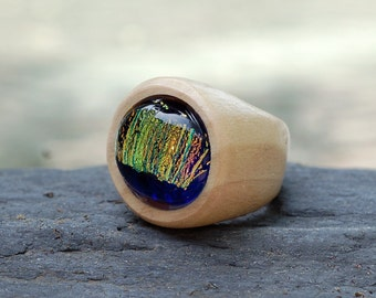 Wood Ring Glass Cab Fused Dichro Wooden Jewelry Blue Gold Size 9