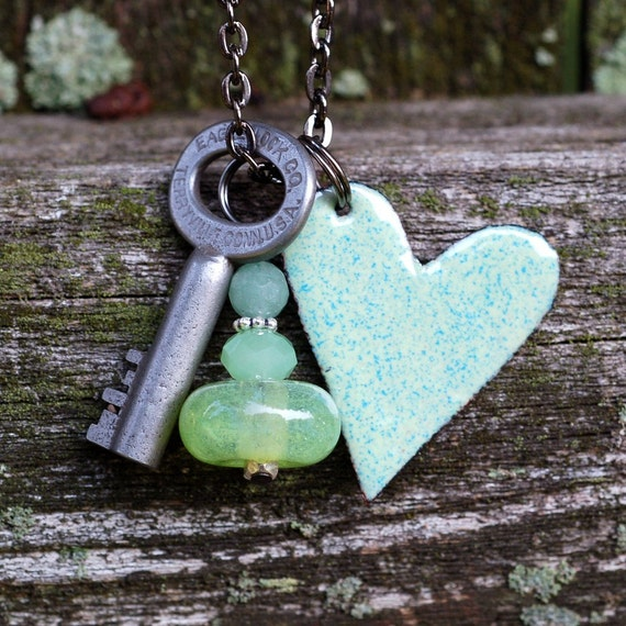Skeleton Key Necklace, Copper Enamel Heart Pendant, Boro Lampwork Bead, Cluster Jewelry - I'm Lichen You