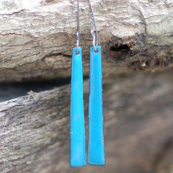 Enamel Copper Skinny Stick Earrings My Blue