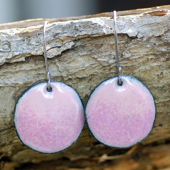 Pink Enamel Earrings, Large Copper Disc, Enameled Jewelry, I'm Blushing