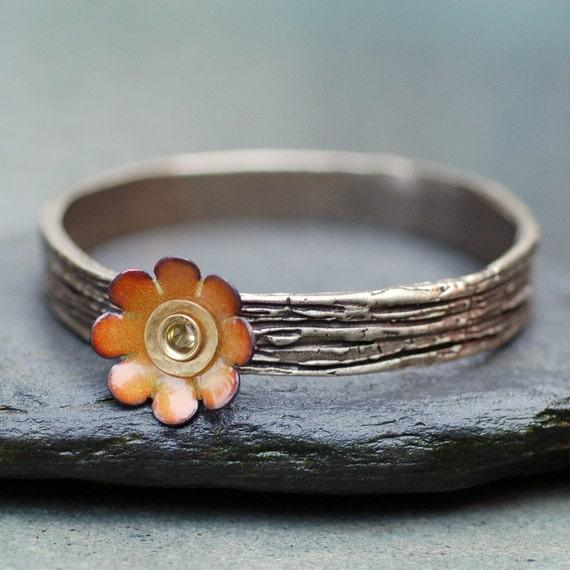 Bangle Bracelet, Bronze, Enamel Flower, Copper Enameled Jewelry, Yellow Orange - Daisy