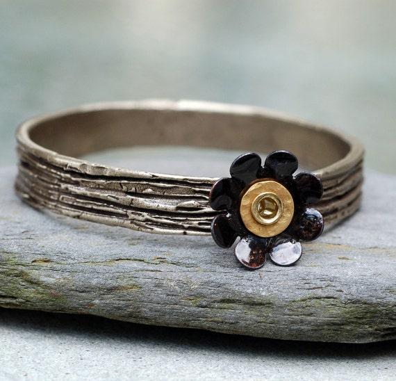 Bangle Bracelet, Bronze, Enamel Flower, Copper Enameled Jewelry, Black Rose