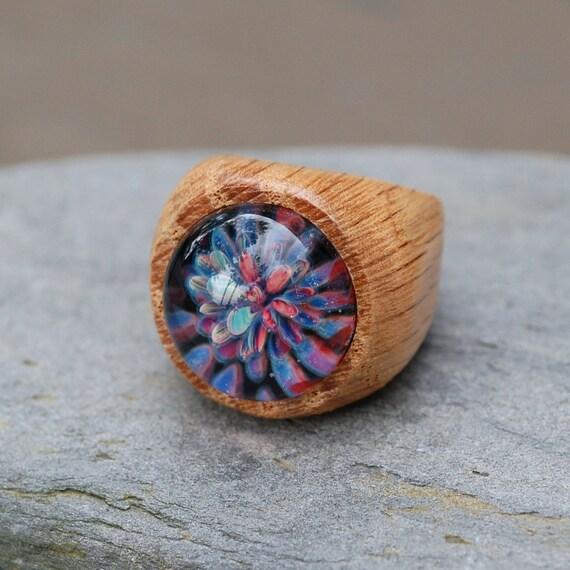 Wood Ring Glass Cab Boro Borosilicate Lampwork Wooden Jewelry Confetti Cannon Size 8.5