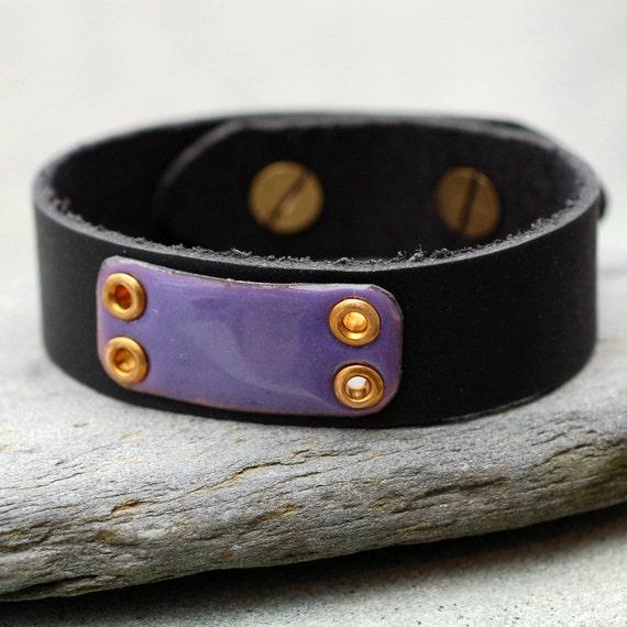 Black Leather Cuff Bracelet Copper Enamel Unisex Enameled Jewelry Accessory, Purple