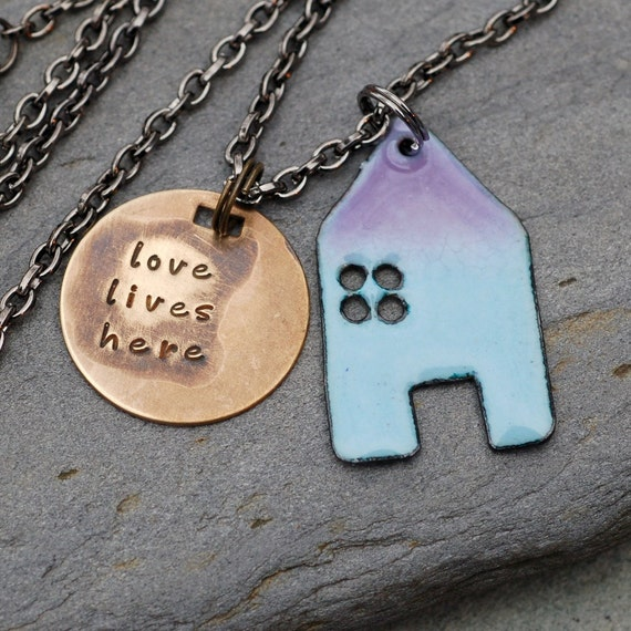 House Pendant Copper Enamel Home Necklace Handstamped Brass Tag Enameled Light Blue Purple - Love Lives Here