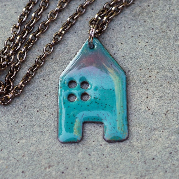 House Pendant Copper Enamel Home Necklace Enameled Jewelry - Turquoise Purple
