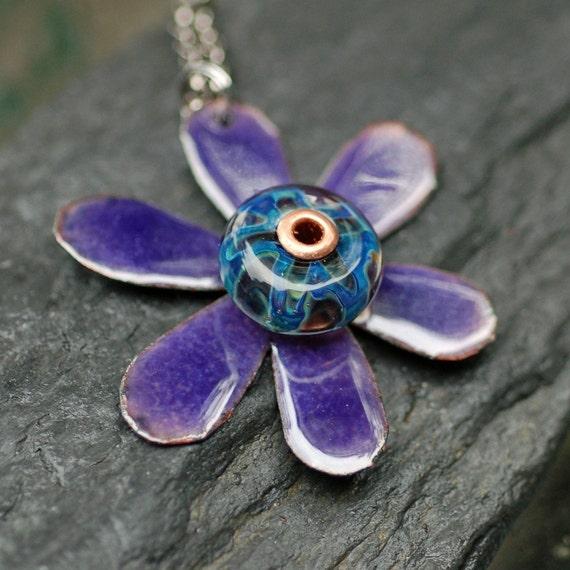 Enamel Flower Boro Glass Bead Pendant, Necklace, Copper, Purple Enameled Jewelry - Funky Flower