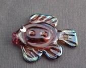 Purple Fish Button by Melissa Vess Lampwork Art Glass Beads - SRA