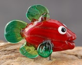 Christmas Fish Lampwork Focal  Bead CAN be MADE into a NECKLACE by Melissa Vess Glass Art - sra