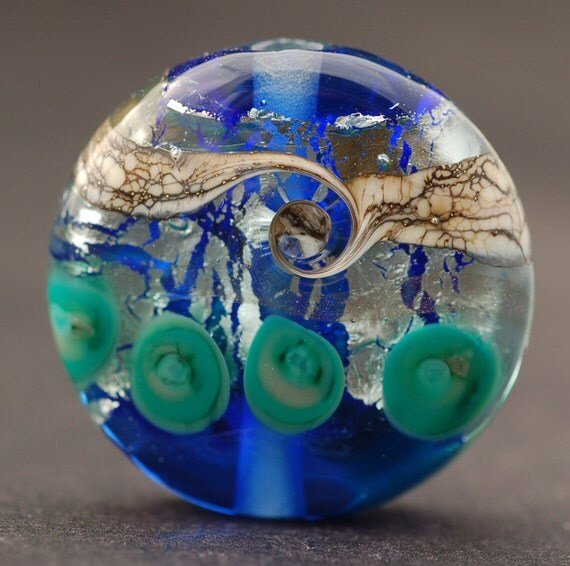 Handmade Glass Lampwork Focal Bead - Icy Blue Lentil  by Melissa Vess SRA