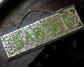 Mosaic Garden Sign in Creamy Yellow and Green