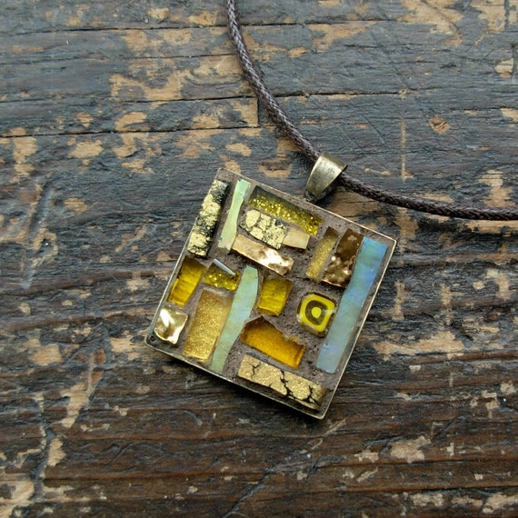 November Topaz Inspiration Mosaic Pendant for November  in Yellow Ochre(1 inch)