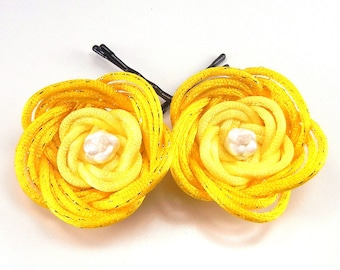 Yellow gradient rose bobby pins - can be made with custom colors