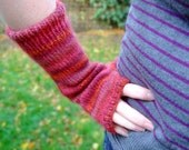 Fingerless Mittens - Holly Berry Red