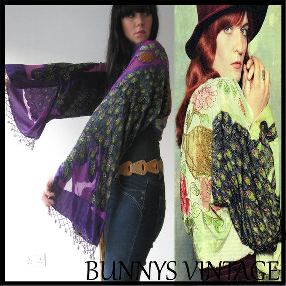 New Vintage Syle Burnout Devore Purple VELVET Fringe Hippie Gypsy Boho Peacock KIMONO Jacket Coat Bell Sleeve worn by Florence Welch in NME