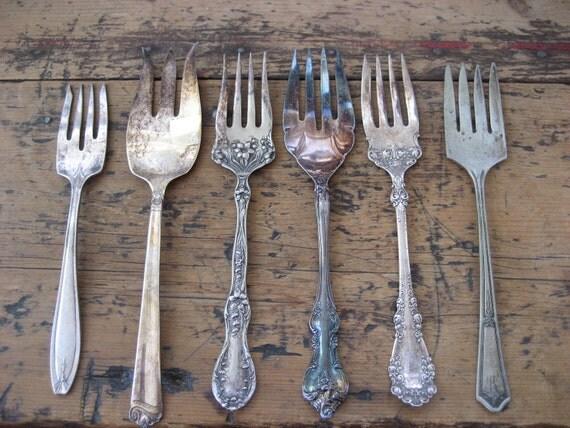6  Flattened Vintage Large Serving Forks