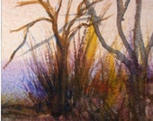 Winter Trees JeanHood ACEO Painting WWAO