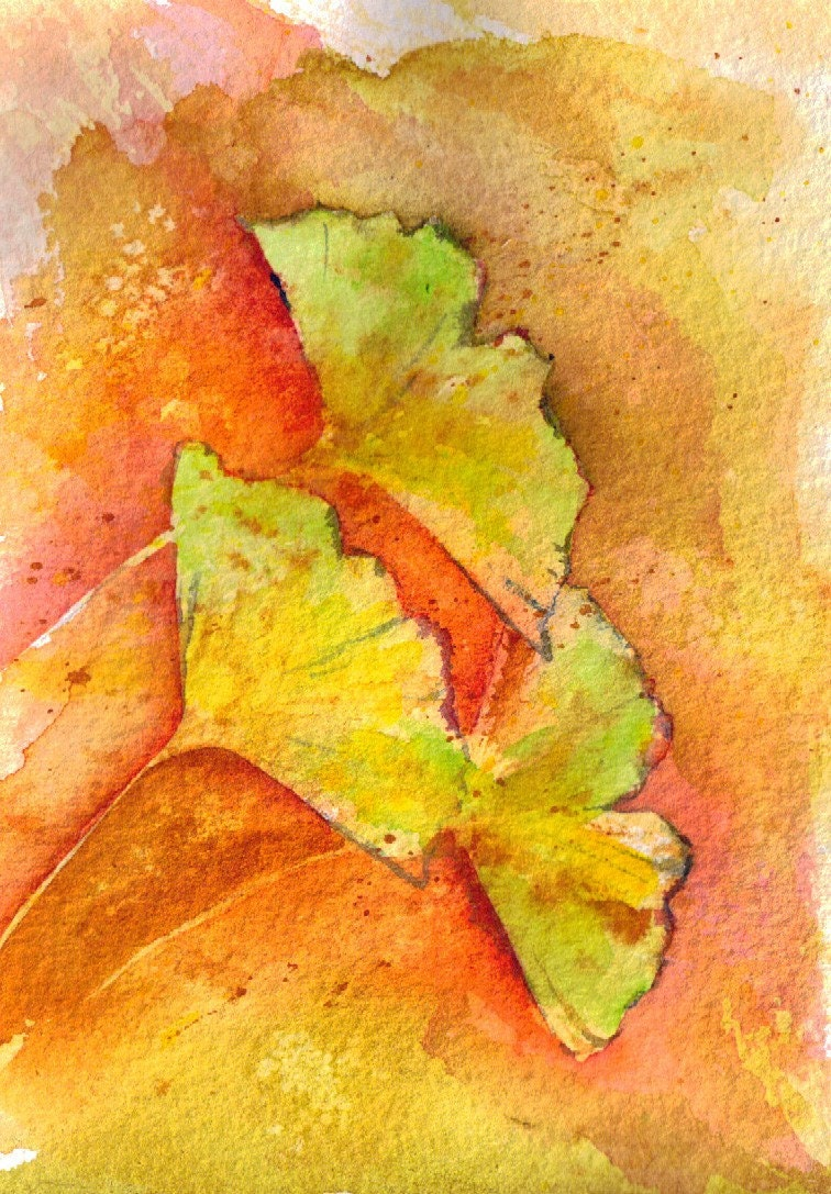 Ginkgo Trio Watercolor Painting