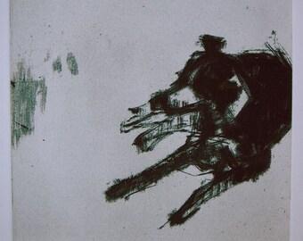 Border Collie Repose 3 - Original etching