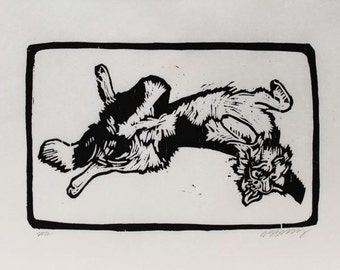 Back Scratch Border Collie Original Woodblock Print