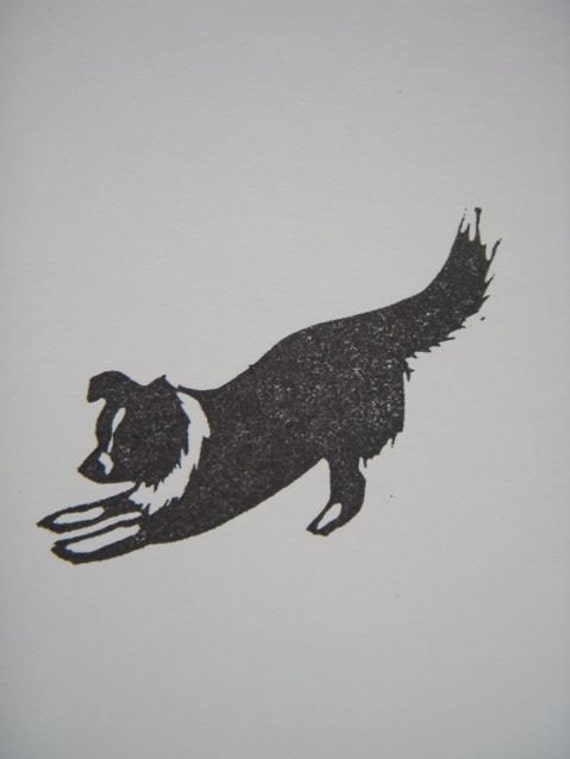Border Collie Play hand carved rubber stamp
