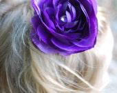 Deep Purple 3.5in Ranunculus Silk Flower Hair Clip