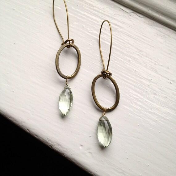 Green Amethyst Antique Brass Earrings