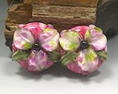HANDMADE LAMPWORK Glass Bead Set Earring Beads PAIR Donna Millard pink purple green flowers lily