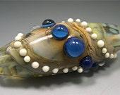 Lampwork Bead ORGANIC FOCAL Donna Millard COCOON Blue Tan Gold