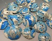 VINTAGE Bead Caps Floral Design in BLUE Donna Millard
