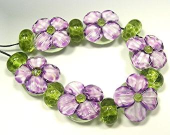 LAMPWORK Beads lampwork glass beads lampwork focal beads handmade beads artisan beads Donna Millard sra purple green spring summer garden