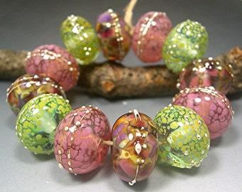 HANDMADE LAMPWORK GLASS Bead Set Donna Millard Blush spring garden flowers cranberry Wine lavender pink Strawberry green