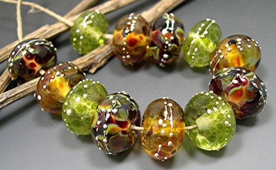 LAMPWORK DONNA MILLARD sra handmade glass beads Cactus green brown gold desert