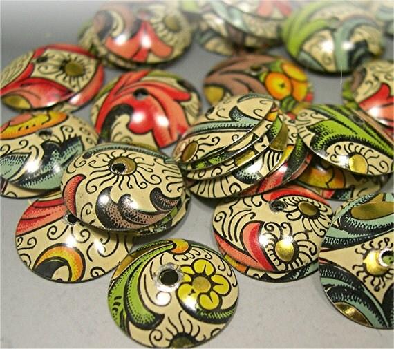 Bead Caps Vintage Fleur de Lis made from vintage cool stuff jewelry findings beading Donna Millard SRA