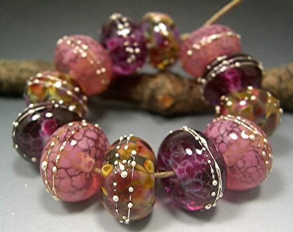HANDMADE LAMPWORK GLASS Bead Set Donna Millard Brandywine Cranberry Wine Pink brandy gold topaz spring