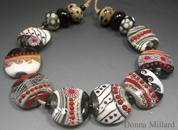 HANDMADE LAMPWORK Bead SET 14 Donna Millard loons bird red white grey black spring summer 2012 boho gypsy hippie glass beads