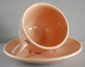 RESERVED for MELISSA - Vintage Peach Fiestaware Cup and Saucer, SALE was 10