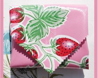 sandwich wrap & cotton liner/napkin - PINK STRAWBERRIES - place mat - eco - reusable